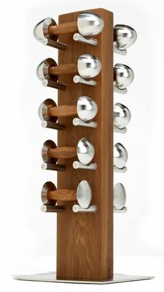 LOFT five stack. Rack sculpted out of finely ground oiled solid Safeglide™ stainless shelves – practical storage for no trapped fingers. Stand base made of brushed stainless steel with non-marking anti-slip feet. Dimensions: 360 x 360 x x x Small Home Gyms, At Home Gym, Gym Interior, Cafe Interior Design, Home Gym Exercises, At Home Workouts, Gym Design, House Design, Fitness Design