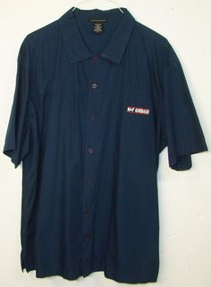 MFG Marithe Francois Girbaud Mens Blue Embroidered Short Sleeve Button Shirt XL #Girbaud #ButtonFront