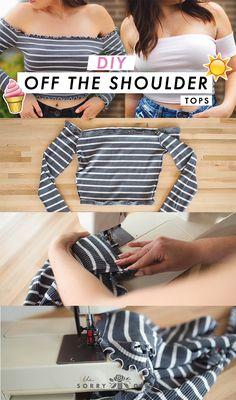 diy ropa DIY Off The Shoulder T - doityourself Thrift Store Diy Clothes, Diy Clothes Tops, Diy Summer Clothes, Diy Clothes Refashion, Diy Clothing, Sewing Clothes, Diy Clothes Vintage, Vintage Diy, Revamp Clothes