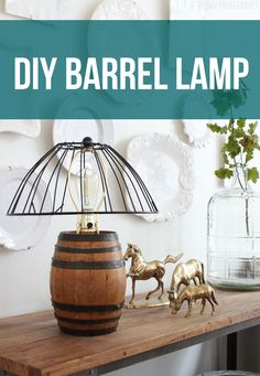 I made a lamp out of a vintage wine barrel! Can you guess what the lampshade was made out of? All of the details on the lamp are in my blog post today, come see! #DIYWorkshop @homedepot