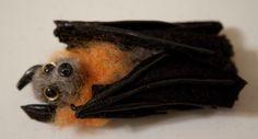Flying fox needle felted bat brooch pin Handmade by alittlemagik