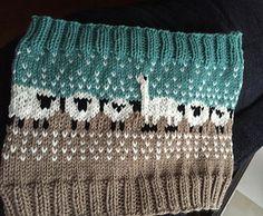 Knit knitted knitting.  Pretty sheep and llama pattern.  Cowl.
