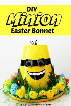 Minion Easter Bonnet. How adorable is this! Simple to make too!