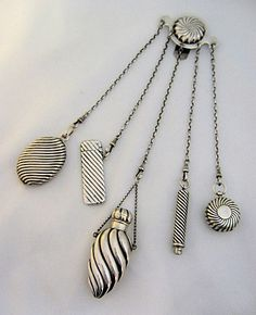 1888 Sterling Silver Chatelaine w/ 5 Accessories Sampson Mordan England