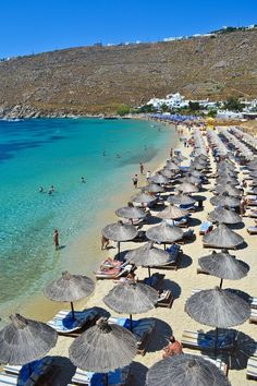 Psarou Beach, Mykonos, Greece - One of the island's most gorgeous beaches!  #travel #greece #islands #mykonos