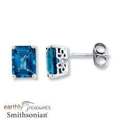 Blue Topaz Earrings Diamond Accents 10K White Gold