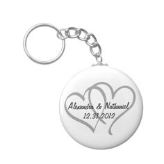 Save the Date Platinum Silver Intertwined Hearts Keychain