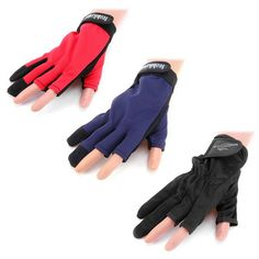 1 Pair Yoshikawa Breathable Non-slip Two Fingers Design Fishing Gloves