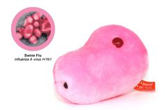 """This little piggy has swine flu, this little piggy had none. And now, you can play with your very own """"funducational"""" or swine flu virus plush toy! Plush Microbes, Giant Microbes, Swine Flu, Popsicle Crafts, This Little Piggy, Stuffed Animals, Plushies, Pills, Medicine"""