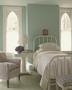 windows made to look like church window-(Martha Stewart style white and robin egg blue rooms)