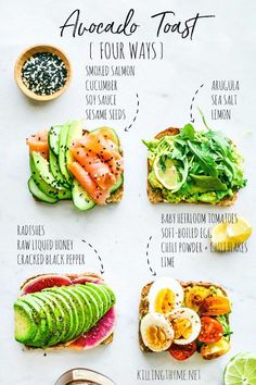 Avocado toast four ways - Slimming world - # ways . - Avocado toast four ways – Slimming world – - Healthy Breakfast Recipes, Brunch Recipes, Healthy Snacks, Healthy Recipes, Heart Healthy Breakfast, Healthiest Breakfast, Healthy Brunch, Simple Recipes, Brunch Ideas