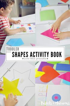 Toddler Shapes Activity Book With Free Printable. Learn Shapes, Colors And Problem Solving Skills. We Loved Doing This Activity And My Toddler Goes Back To This A Lot. He Loves Matching The Shapes And Pointing Out The Colors. Toddler Learning Activities, Preschool Activities, Kids Learning, Activities For Kids, Shape Activities, Preschool Learning Colors, Toddler Color Learning, Shapes For Toddlers, Printable Shapes