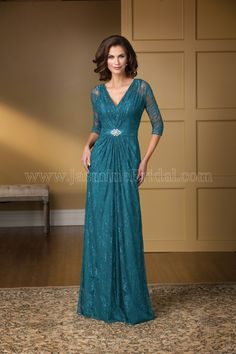 Jasmine Bridal Mother of the Bride/Groom Dress Jade Couture Style K178014 in Teal. An elegant and stylish option for your next special event. The classic silhouette of V neckline combined with A-line neckline is accentuated by beautiful lace detail and beading on the sash and waistline.