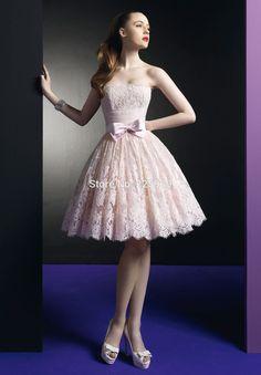Sıcak Satış Allık Pembe Dantel Mezuniyet Elbiseleri Yeni Straplez Kolsuz Güzel Yay Düğün Için Bir Çizgi Moda Mini Kısa Abiye Parti(China (Mainland))
