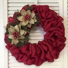 Burlap Christmas Tree Wreath 8