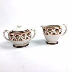 Queens-Imari-Creamer-and-Sugar-Bowl-with-Lid-Porcelain-Set-of-2-From-India #Imari #Queens