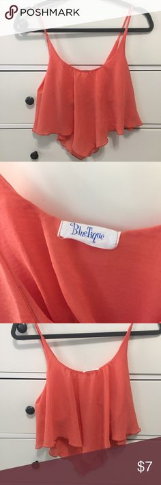 NWOT Orange flowly crop top From a boutique in raleigh nc! Tops Crop Tops