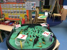 Harry and his bucketful of dinosaurs maths activity Maths Eyfs, Eyfs Activities, Dinosaur Activities, Toddler Activities, Numeracy, Dinosaur Projects, Dinosaur Crafts, Dinosaurs Preschool, Preschool Crafts