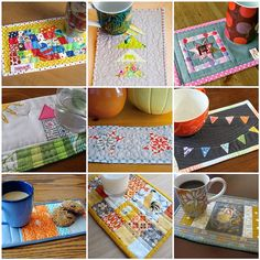 mug rugs mosaic by greenleaf goods, via Flickr