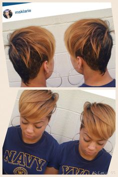Love her hair color Cute Hairstyles For Short Hair, My Hairstyle, Short Quick Weave Hairstyles, Girl Hairstyles, Curly Hair Styles, Natural Hair Styles, Everyday Hairstyles, Short Sassy Hair, Short Hair Cuts