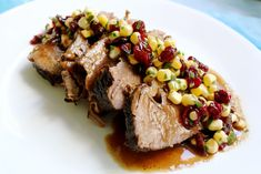 Pomegranate Brisket with Pomegranate Succotash: I served this for Rosh Hashanah (with pomegranates as the author suggests), it was absolutely amazing. I serve the succotash as a side instead of on the brisket as a garnish. Passover Recipes, Jewish Recipes, Thanksgiving Recipes, Holiday Recipes, Hanukkah Recipes, Israeli Recipes, Israeli Food, Family Thanksgiving, Holiday Meals