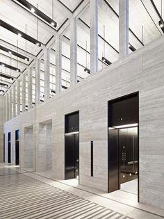 Elevator & grey stone