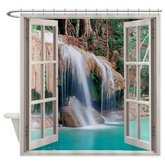 open window to view falls shower curtain