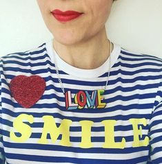 Ooh!  @stripes_with_everything (IG) is earning her fashion stripes in our classic Glitter Heart Brooch and Poppy Chancellor x Lakwena Love Necklace