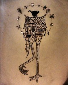 Baba Yaga House, Dream Tattoos, Tatoos, Hag Stones, Home Tattoo, Witch Art, Russian Folk, Gods And Goddesses, Deathly Hallows Tattoo