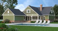 Bungalow Cottage Country Craftsman Rear Elevation of Plan 76923