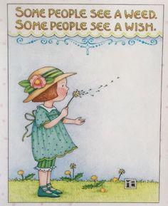 Some People See A Weed-Handmade Fridge Magnet-Mary Engelbreit Artwork .
