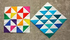 Diary of a Quilter - half square triangles, Kona Solids Quilt Block Patterns, Pattern Blocks, Quilt Blocks, Small Quilts, Mini Quilts, Half Square Triangle Quilts Pattern, Perfect Triangles, Sampler Quilts, Patch Quilt