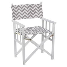 Wooden indoor/outdoor directors chair with removable chevron-print seat and back.   Product: Indoor/outdoor directors chair