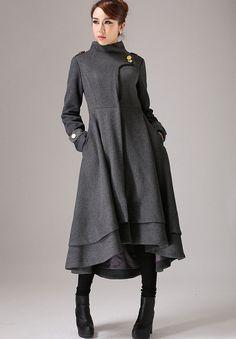 Gray wool coat long winter dress coat with layered hem von xiaolizi