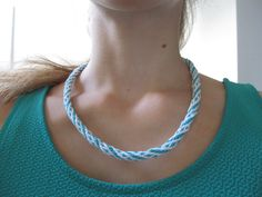 Kumihimo white-mint necklace