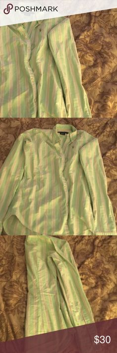 Long sleeve Ralph Lauren Mixed between green, peach, purple, and white. Great condition only worn a few times. Great for a monogram! Tops Button Down Shirts