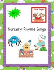 Free printable nursery rhyme bingo game for #preschool and #kindergarten via www.pre-kpages.com