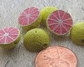 4 Tiny Grapefruit Beads - The Crafy Bead Etsy site - they have EVERYTHING!