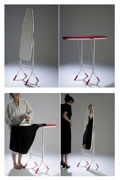 Ironing board + mirror | Recyclart  Love the dual functionality.
