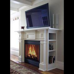 Modern Antique Mantel (A/V, media center)--this is the one Jake! - Modern Antique Mantel (A/V, media center)–this is the one Jake! Faux Fireplace Mantels, Fireplace Bookshelves, Fireplace Built Ins, Concrete Fireplace, Fireplace Remodel, Fireplace Surrounds, Fireplace Design, Mantles, Fireplace Outdoor