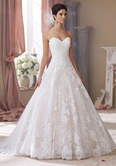 Organza ball gown with sweetheart neckline and embellished lace I Style: 214206 Wyomia I David Tutera for Mon Cheri I http://knot.ly/6498BIea4
