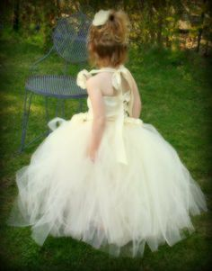 Ivory Floor Length Tutu for Flower Girl Dress by WaterBabyBoutique