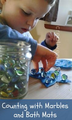 Creative Playhouse: Counting with Marbles and Bath Mats