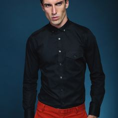 Blk oxford fitted shirt