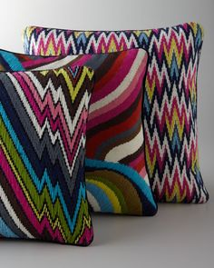 Hand-Embroidered Bargello Pillows by Jonathan Adler at Horchow. Broderie Bargello, Bargello Needlepoint, Bargello Quilts, Needlepoint Pillows, Needlepoint Stitches, Needlework, Cross Stitch Embroidery, Embroidery Patterns, Hand Embroidery