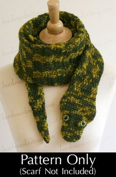 Digital PDF Crochet Pattern for Snake Scarf - pretty easy pattern, even for a beginning crocheter like me! I can't wait for my son to see it Christmas morning.