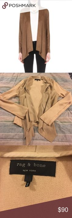 """Rag & Bone Suede Draped Cardigan Suede panels and cotton knit, Vneck, draped Asymmetrical, 25"""" Sleeve, 30""""-34"""" bust, loose fit body and slim sleeves, in great condition, 27"""" length rag & bone Sweaters Cardigans"""
