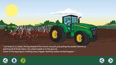 Seeding the wheat crop with nosey neighbour Neville on the George the Farmer App. Download now on iTunes.  #farm #farming #kids #kidsapp #kidsfarm #aussiefarm #aussie #australia #johndeere #tractor #illustration