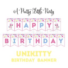 Unikitty banner pennants for your PRETTY LITTLE PARTY! {digital file} Happy Birthday banner with three decorative pennants. Girls Lego Party, Lego Birthday Party, Fourth Birthday, Happy Birthday Banners, Girl Birthday, Birthday Ideas, Star Wars Party, Cat Party, Party Themes