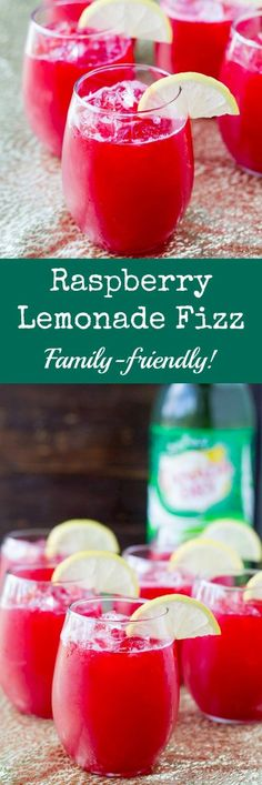 """Make Raspberry Lemonade Fizz the """"signature drink"""" at your next party! It only takes 3 ingredients and everything can be made ahead. @culinaryhill"""